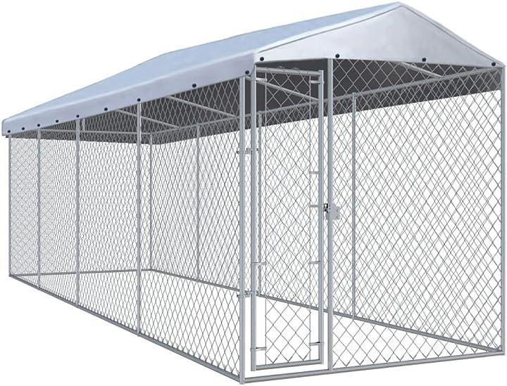 Gabbia cani animali in metallo gabbia per polli da esterno in acciaio 3,8x3,8x2,4 m /7,6x1,9x2,4 m festnight VKS8951902387891WS