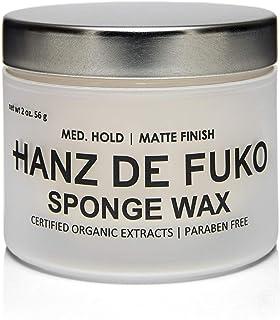 Hanz de Fukoプレミアムメンズヘアスタイリングスポンジワックス:セミマット仕上げの高性能ヘアスタイリングワックス56g / 57.14ml