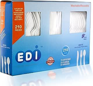 EDI White Disposable Plastic Cutlery Set (210 Count)
