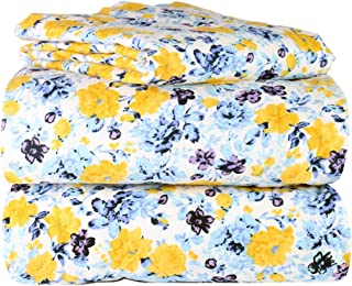 AM Home Fashion Piece 100% Soft Flannel Cotton Bed Sheet Set – Queen/King Size – Patterned Bedding Covers – 1 Flat Sheet, 1 Fitted Sheet, 2 Pillow Cases - Fade Resistant Designs, (Floral, Queen)