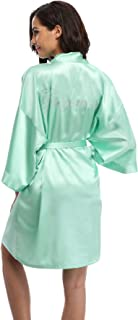 Vogue Bridal Women's Satin Rhinestone Short Wedding Kimono Robe