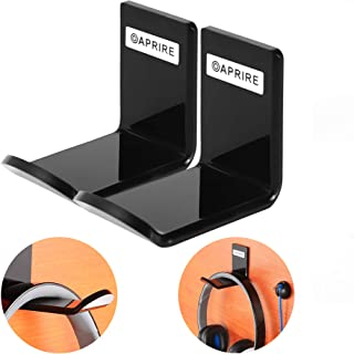 Headphone Stand Hanger Wall Mount - Pack of 2 OAPRIRE Acrylic Headphone Headset Holder, Best Gaming Headset Stand with Cable Clip - Save Desktop Space