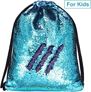 Alritz Mermaid Sequin Drawstring Bags Reversible Sequin Dance Bags Backpacks for Girls