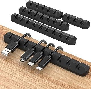 JIRVY 4 Stück Kabelhalter Kabelclips Selbstklebende Kabel Kabelmanagement für Netzkabel,USB Cable Ladekabel,Ladegeräte,Aud...