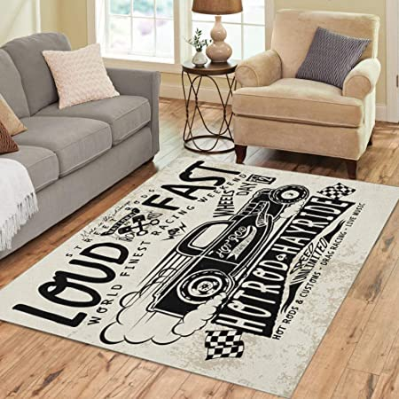 Pinbeam Area Rug Truck Hotrods Car Old School Vintage Race Hot Home Decor Floor Rug 3 X 5 Carpet Kitchen Dining