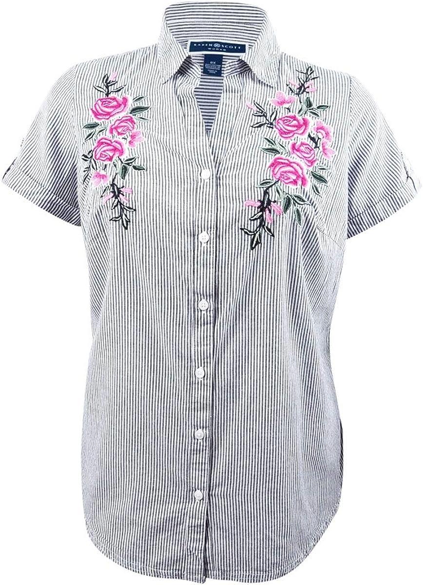 Karen Scott Women's Plus Size Cotton Embroidered Shirt
