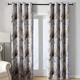 Kotile Grey Blackout Curtains for Bedroom/Living Room 95 Inches Length 2 Panels, Home Decor Window Treatment Thermal Insulated Ring Top Curtains with Colorful Tree Floral Design Print