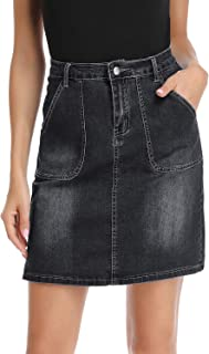 kefirlily Jean Skirt for Women Stretch Denim A Line High Waisted Knee Length Skirt with Pocket
