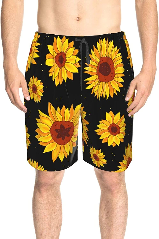 JINJUELS Mens Swim Trunks Sunflower Yellow Beach Board Shorts Drawstring Elastic Summer Boardshorts with Pockets