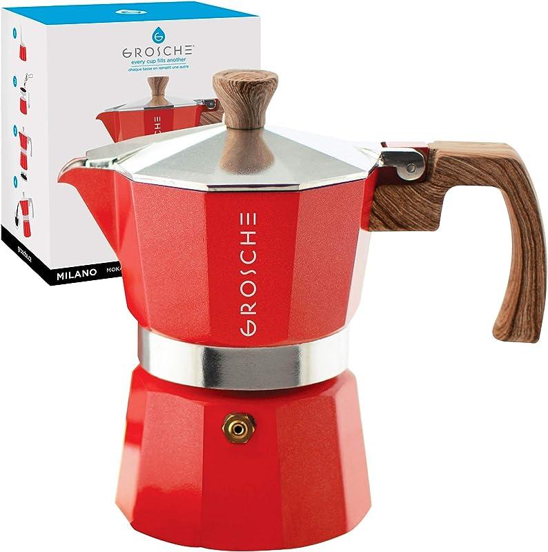 GROSCHE Milano Stovetop Espresso Maker Moka Pot 3 Cup 5oz Red Cuban Coffee Maker Stove Top Coffee Maker Moka Italian Espresso Greca Coffee Maker Brewer Percolator
