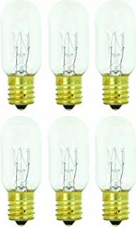 Pack of 6 25T8 25W Incandescent Salt Lamp & Appliance T8 Bulb with Candelabra Base,