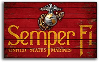 Adonis554Dan Semper Fi United States Marine Corp Wood Flag Flags Wooden Military USMC Home Wall Decor Printed Sign Decor Sign Wall Signs