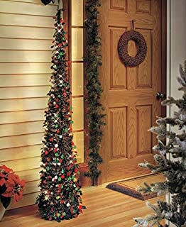 Affordable, Collapsible 65 Lighted Christmas Trees in Green/red for Small Spaces with Timer