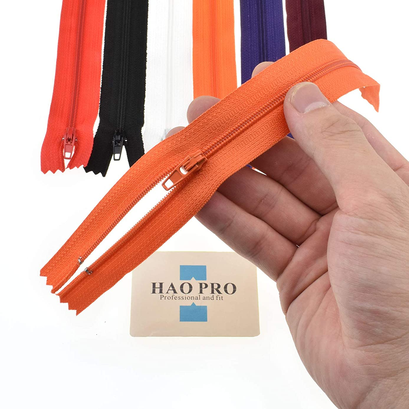 """SGH PRO True 9"""" Zippers #3 True 9"""" Teeth Length 10.8"""" Tape Length Nylon Coil Zipper 18 Pack 6 Colors Open Close Smooth Stress Tolerance Solid Zipper Pulls Stoppers for Bags Purses Crafting Sewing"""