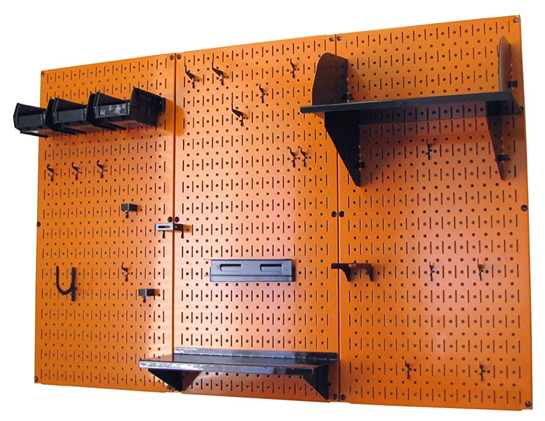 Wall Control 4 ft Metal Pegboard Standard Tool Storage Kit with Orange Toolboard and Black Accessories