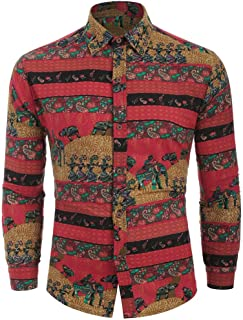 Men's Slim-Fit Long-Sleeve Print Casual Shirts Top
