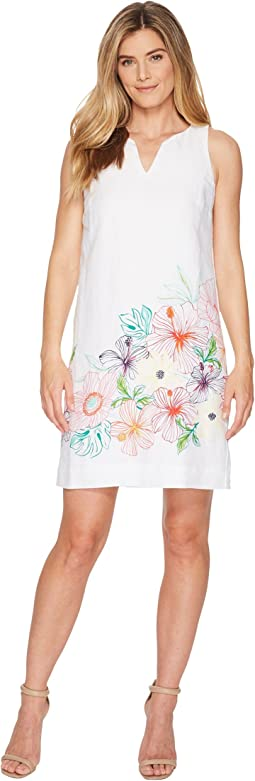 Hibis-Sketch Sleeveless Short Dress