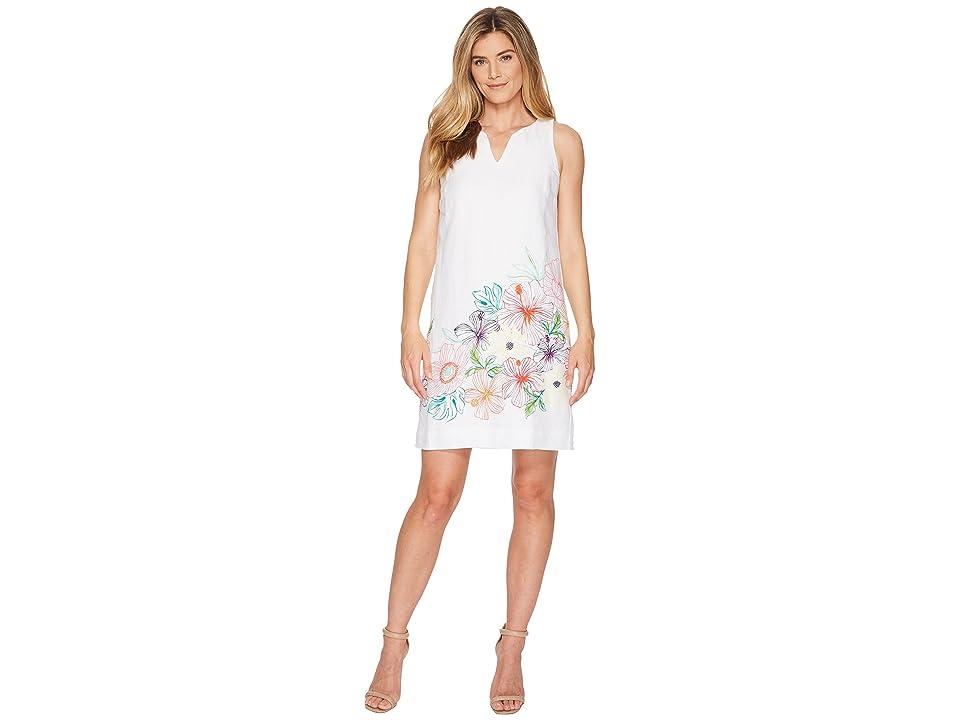 Tommy Bahama Hibis-Sketch Sleeveless Short Dress (White) Women