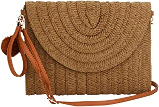 Weave Handbag,Straw Clutch Summer Evening Handbag Summer Beach Party Purse Woven Straw Bag Envelope