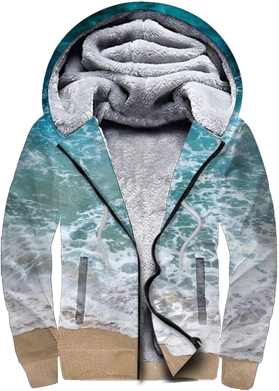 Men's Graphic Fleece Hoodie Womens Full Zip Winter Jacket Coat with Pockets