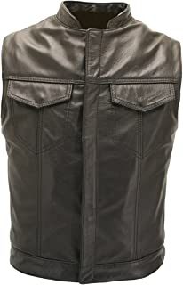 Sons of The Anarchy Leather Vest - Made in USA Black