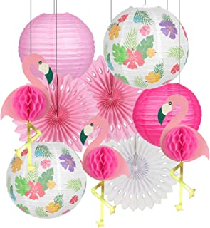 Flamingo Party Decorations, Hawaiian Party Supplies Tropical Leaves Hanging Paper Lanterns Flamingo Honeycomb Tissue Paper...