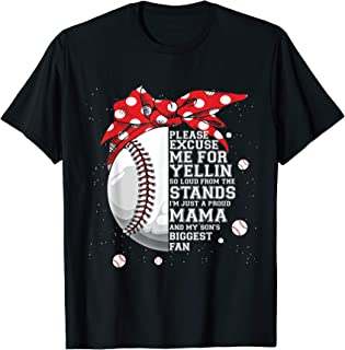Just Proud Mama and My Son Biggest Fan Baseball mom shirts T-Shirt