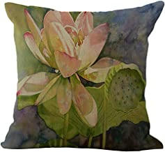 ChezMax Floral Leaves Throw Pillow Cover Sham Slipover Cotton Linen Pillowcase Square Sham Square for Unisex Adults Women Men Bedroom