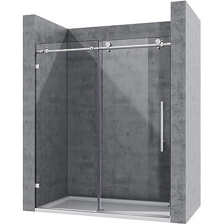 """ELEGANT 64"""" x 72"""" Frameless Sliding Shower Doors, 3/8"""" Heavy Tempered Glass, Brushed Stainless Steel"""