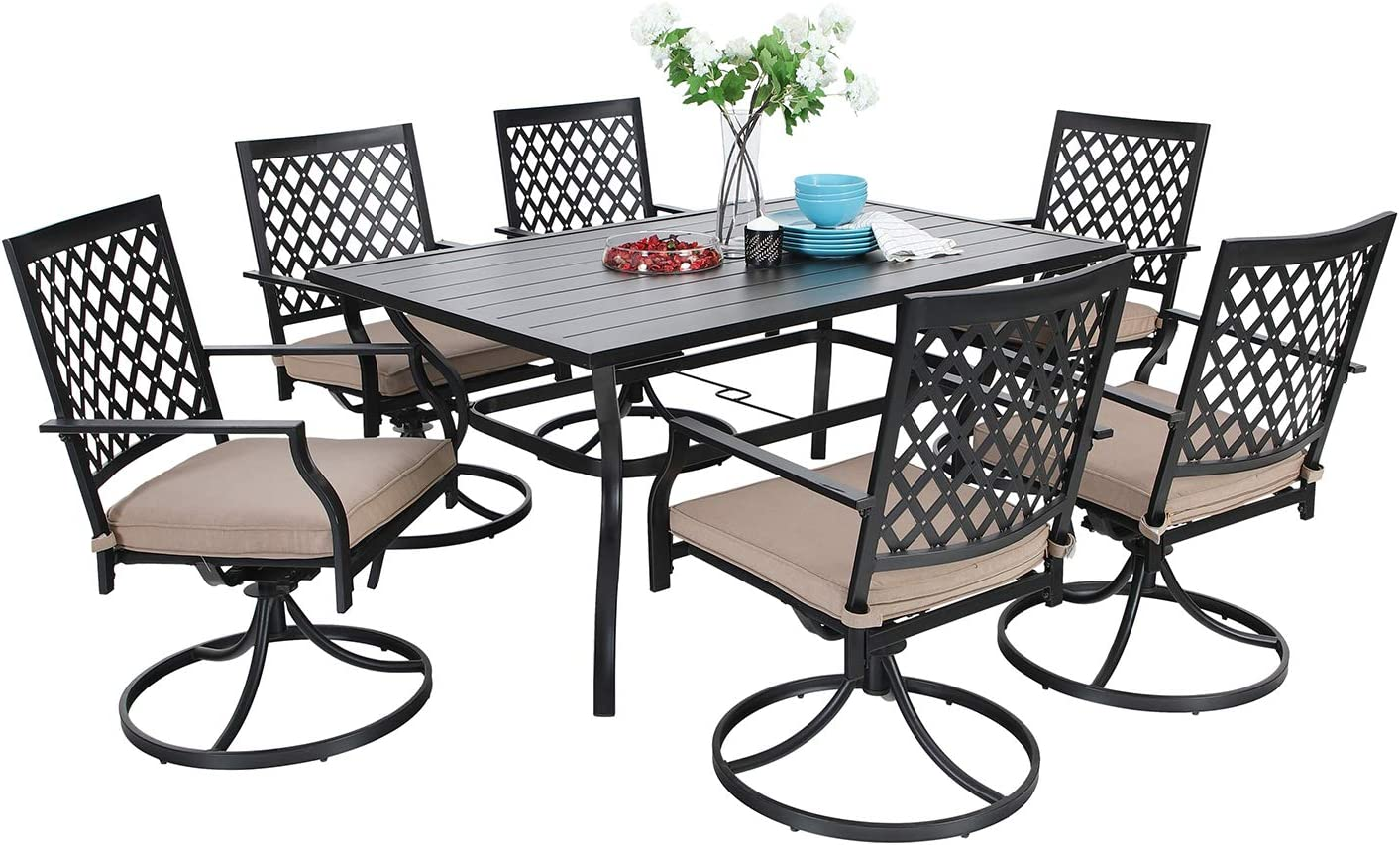 MF Dining Set 100 Pieces Metal Patio Furniture Set, 100 x Swivel Chairs with 10  Rectangular Umbrella Table for Outdoor Lawn Garden Black