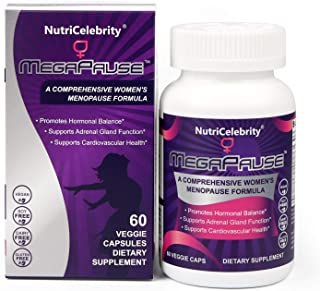 Nutricelebrity MegaPause - Menopause Relief for Hot Flashes, Night Sweats, Tiredness, Mood Swings, Joint & Muscle Discomfort, Hormonal Regulation - 60 Veggie caps