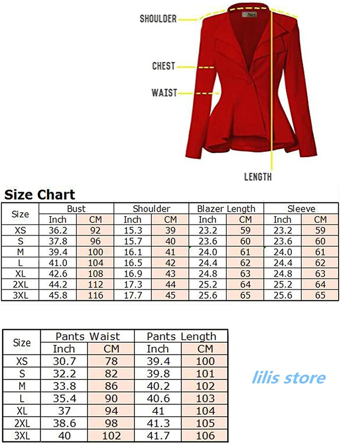 Women's 2 Piece Suits Set for Business Lady Blazer Jacket and Pants