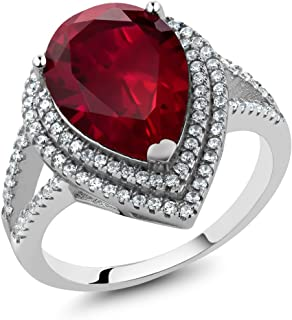 1.20 Ct Pear Shape 15x10mm Red Created Ruby 925 Sterling Silver Ring (Available 5,6,7,8,9)