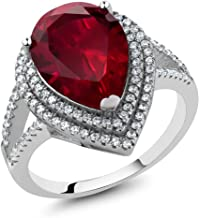 Gem Stone King 1.20 Ct Pear Shape 15x10mm Red Created Ruby 925 Sterling Silver Ring (Available 5,6,7,8,9)