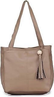 GLOSSY PU Shoulder Bag For Women/Girls - Beige