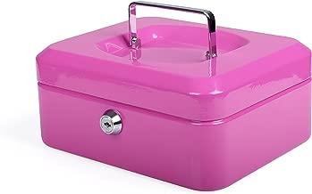 Schmuck usw pink Acouto Mini Geldkassette mit 6 F/ächern 2 Schl/üsseln Abschlie/ßbare Bargeld M/ünze Safe Sicherheit Box Haushalt f/ür zus/ätzliches Bargeld
