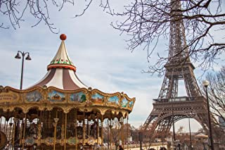 Eiffel Tower Carousel Merry Go Round Paris France Photo Photograph Cool Wall Decor Art Print Poster 18x12