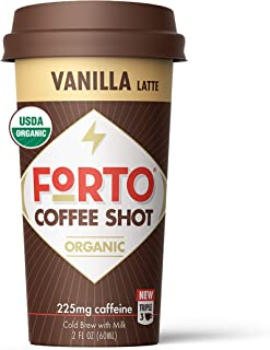 FORTO Coffee Shots - Vanilla Latte, Ready-to-Drink on the go, Cold Brew Coffee Shot - Fast Coffee Energy Boost, 2 Fl Oz, P...