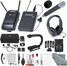 Samson Concert 88 Camera Combo UHF Wireless System (Channel K) CH88 Handheld Transmitter, and Samson SR450 Studio Headphones with Deluxe Accessory Bundle and Cleaning Kit