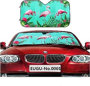 EUGU Car Windshield Sunshade Flamingo Heat Shield Sun Visor Keep Vehicle Cool Thicken 5-Layer UV Blocks 99  Radiation and Protects Interior