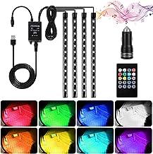 Haofy Luz Interior Coche, 4 Piezas 48 LED Lámpara de Neón Luz de Tira Multicolor Coche de Música, con Función Activa de Sonido y Control Remoto y Puertos USB y Cargador de Automóvil