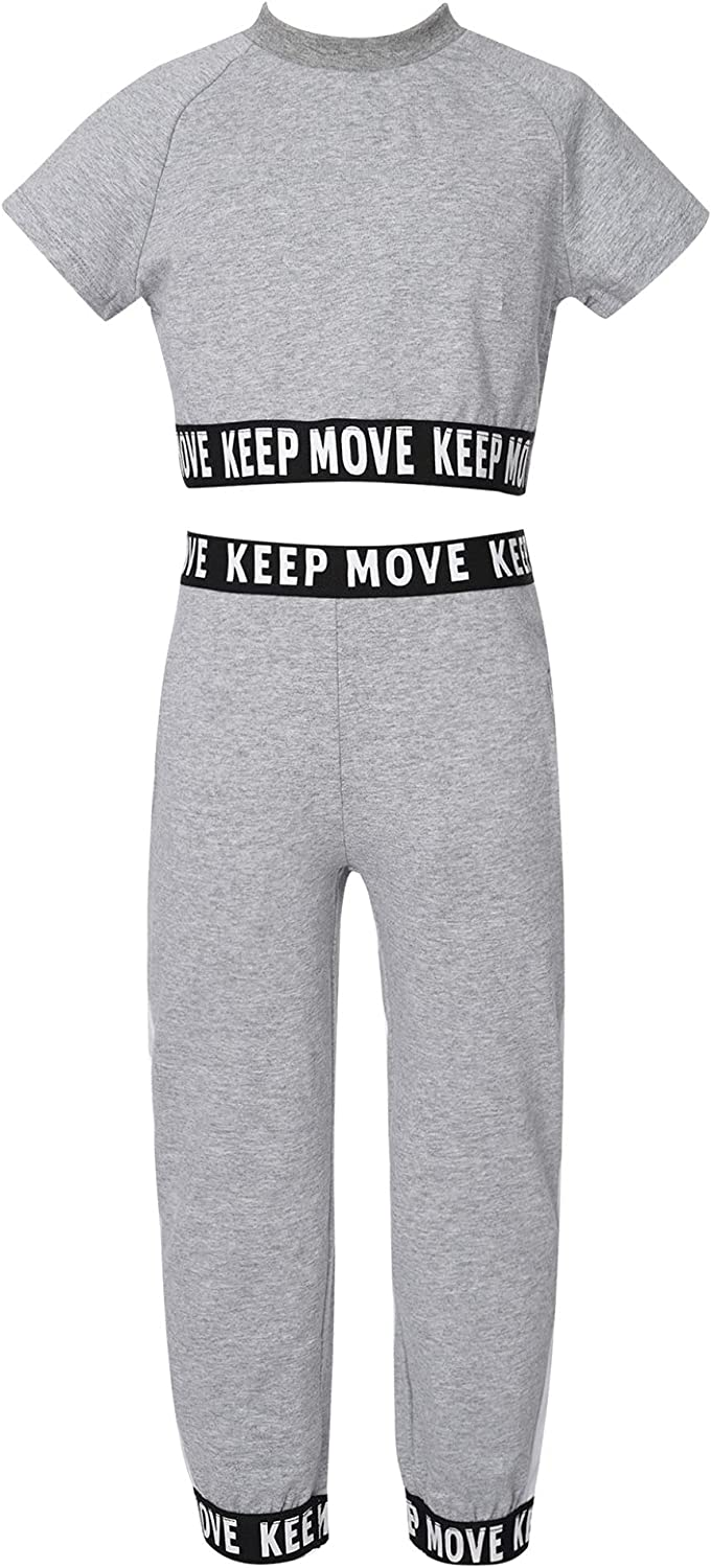 Jizyo Girls Cotton Two Pieces Sports Yoga Outfit Casual Short Sleeve Letter Print Crop Tops and Jogger Pants Casual Sets