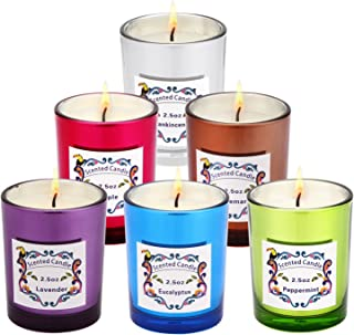 AngelLove Scented Candle, Candle Gift Set 100% Natural Eco-Friendly Soy Wax-Peppermint, Lavender, Apple, Eucalyptus, Rosemary and Frankincense(6 x 2.5 Oz) Charming and The Most Popular Scents