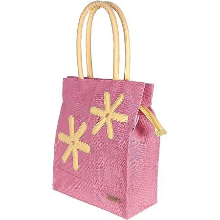 Foonty Exclusive Star Daily Use Jute Lunch Bag (Pink, FFFWB6013C)