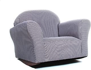 KEET Roundy Rocking Kid's Chair, Brown Gingham