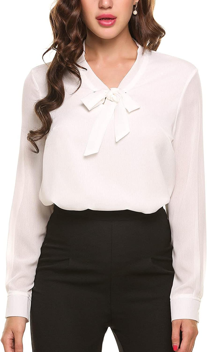 ACEVOG Womens Bow Tie Neck Long/Short Sleeve Casual Office Work Chiffon Blouse Shirts Tops