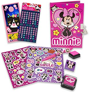 Disney Minnie Mouse Diary Bundle ~ 9 Pc Minnie Mouse Journal Set | Minnie Activities And Party Favors With Minnie Stickers...