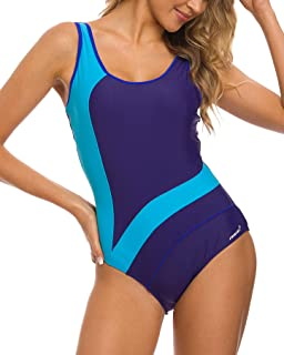 fedd755adbd6d5 Coskaka Women's Sport Athletic Training Adjustable Strap Removable Padded One  Piece Swimsuit Swimwear Bathing Suit for