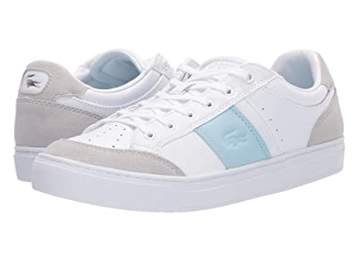 Lacoste Courtline 319 1 US (White/Light Blue) Women