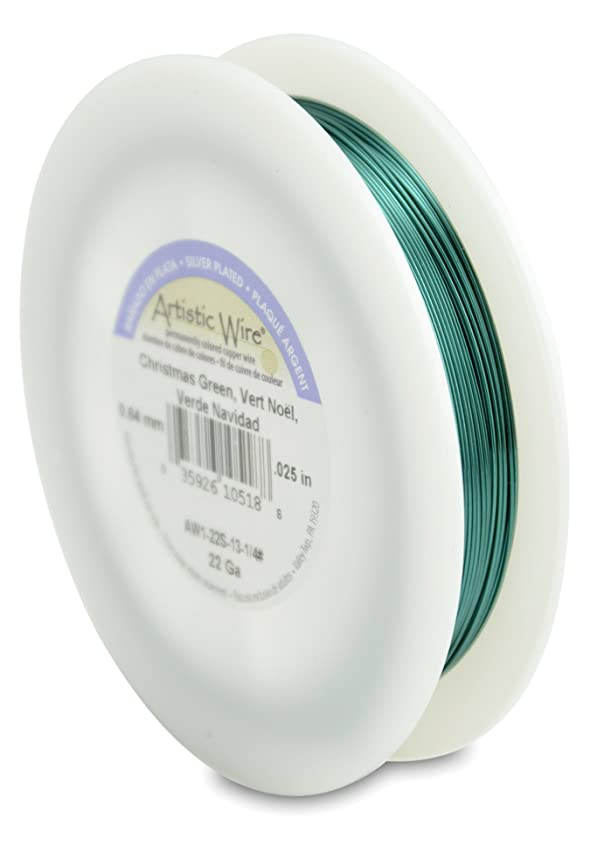 Artistic Wire 22-Gauge Silver Plated Christmas Green Wire, 1/4-Pound